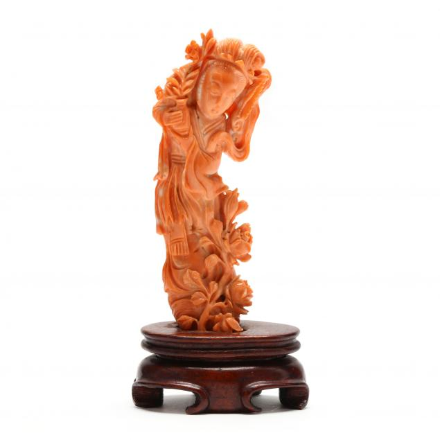 a-chinese-coral-carving-of-guan-yin-with-stand