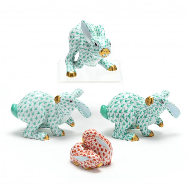 four-herend-porcelain-rabbits