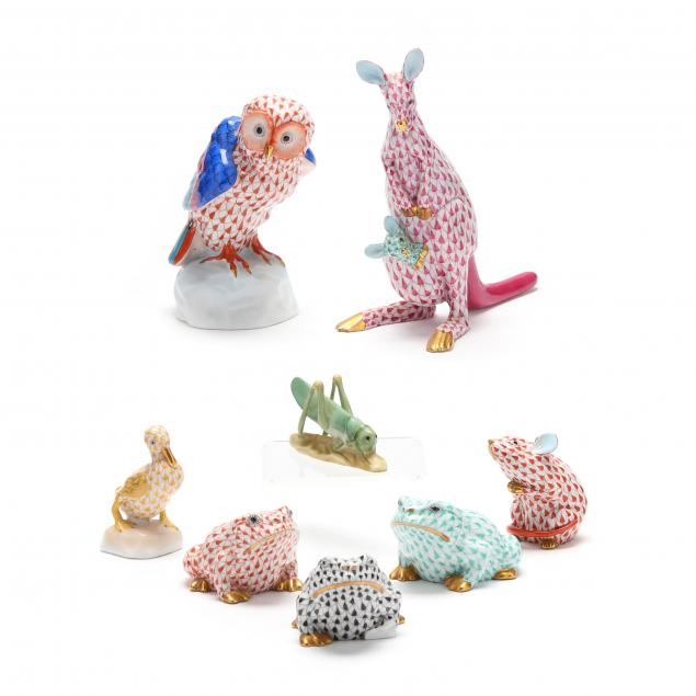 a-selection-of-eight-herend-porcelain-animals