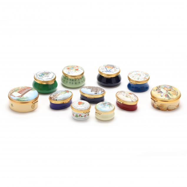 group-of-eleven-staffordshire-enamel-boxes