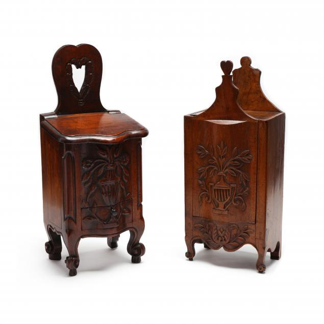 two-antique-french-carved-walnut-candle-boxes