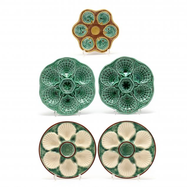 five-majolica-oyster-plates