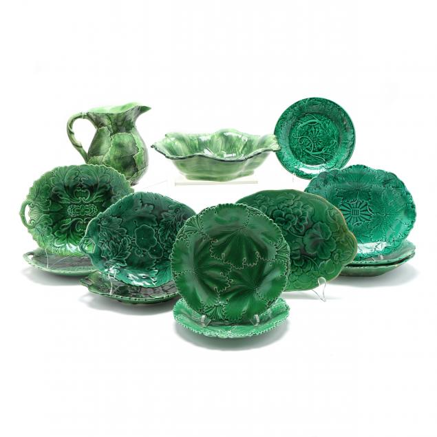 group-of-green-leaf-majolica-ten-vintage-plates-vietri-pitcher-and-basin
