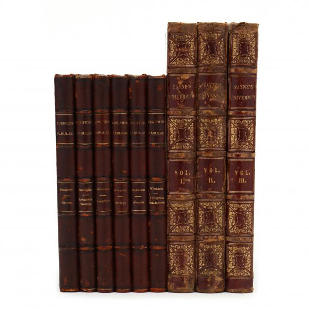 two-19th-century-book-sets-one-of-historical-engravings-and-the-second-of-greek-plays