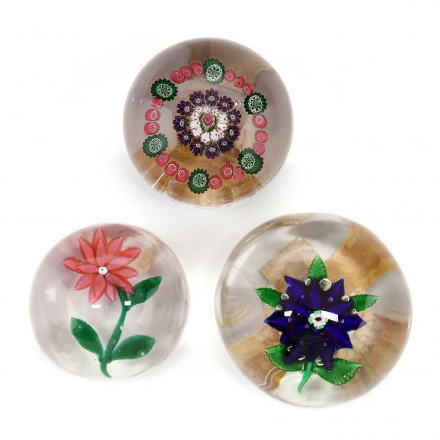attributed-to-clichy-three-antique-glass-paperweights