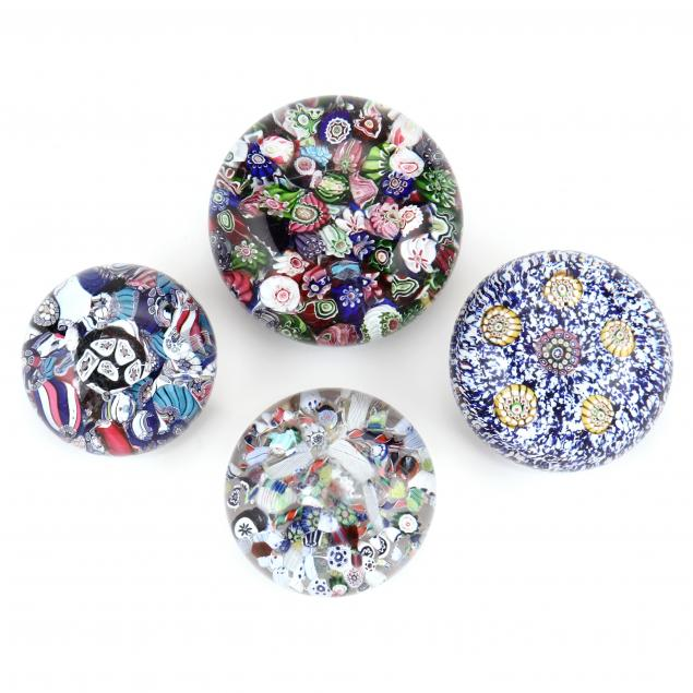 attributed-to-baccarat-four-antique-millefiori-glass-paperweights