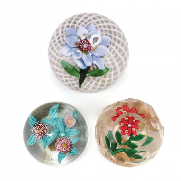 attributed-to-baccarat-three-antique-floral-glass-paperweights