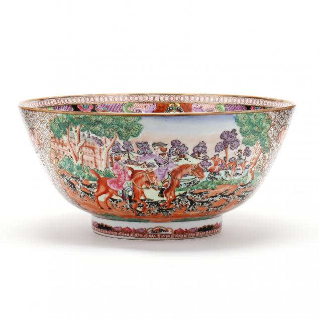 a-large-chinese-export-porcelain-mandarin-palette-fox-hunting-punch-bowl