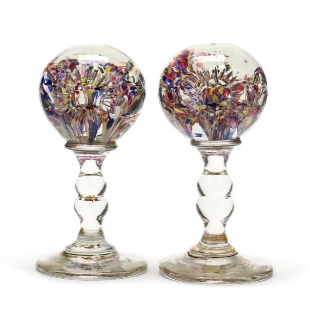 pair-of-antique-english-glass-paperweight-wig-stands