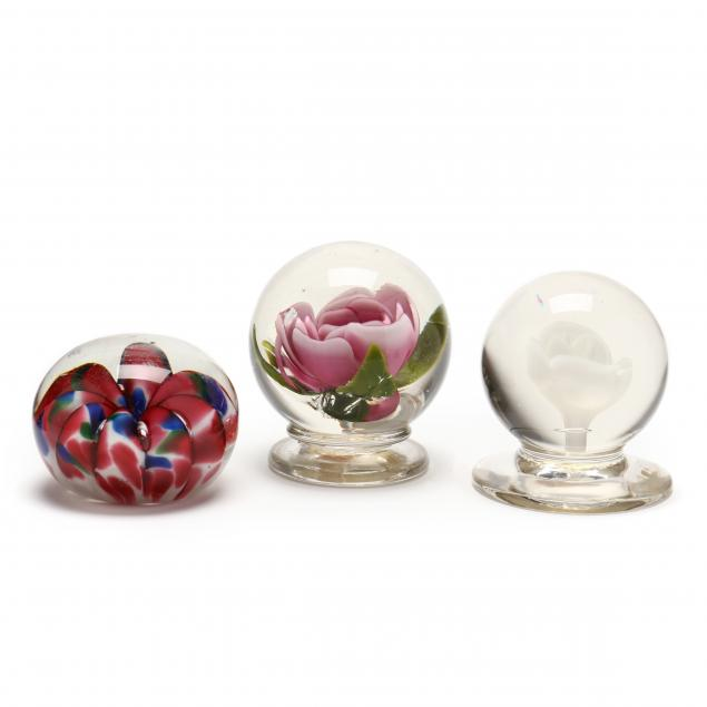 attributed-to-millville-three-antique-glass-paperweights