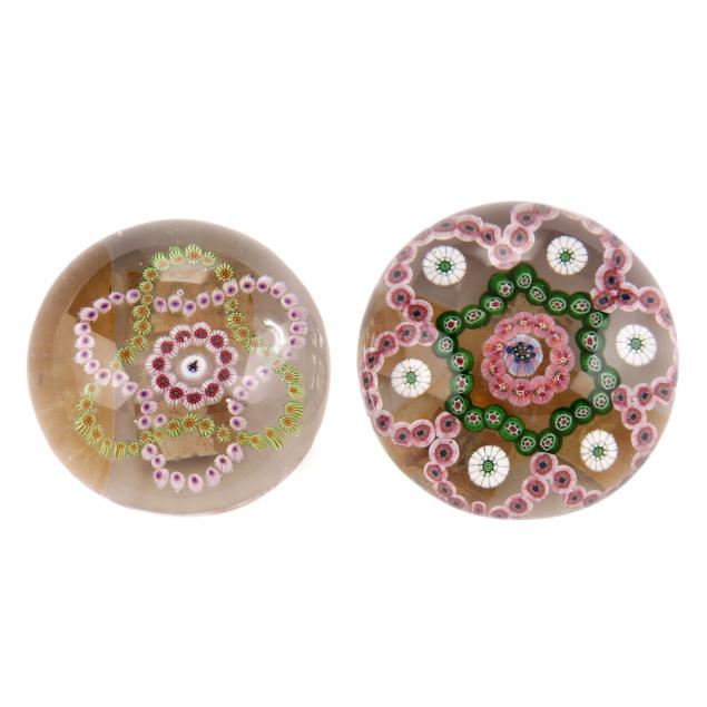 attributed-to-st-louis-two-antique-millefiori-glass-paperweights