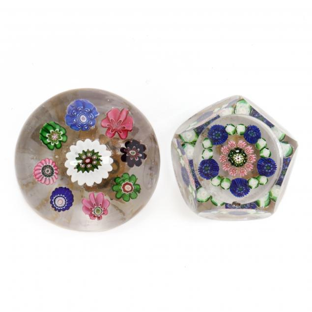 two-small-antique-millefiori-glass-paperweights-incl-clichy