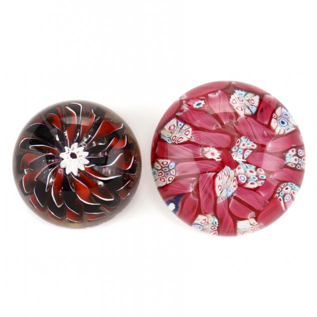 attributed-to-st-louis-two-antique-glass-paperweights