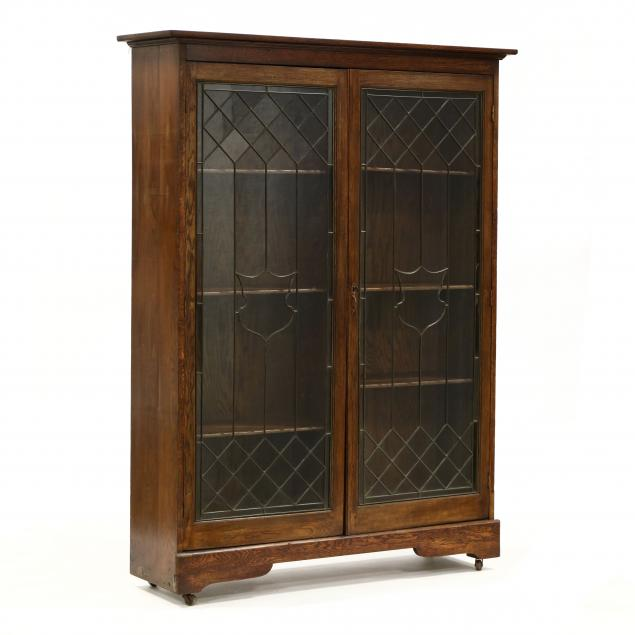 antique-oak-and-leaded-glass-bookcase