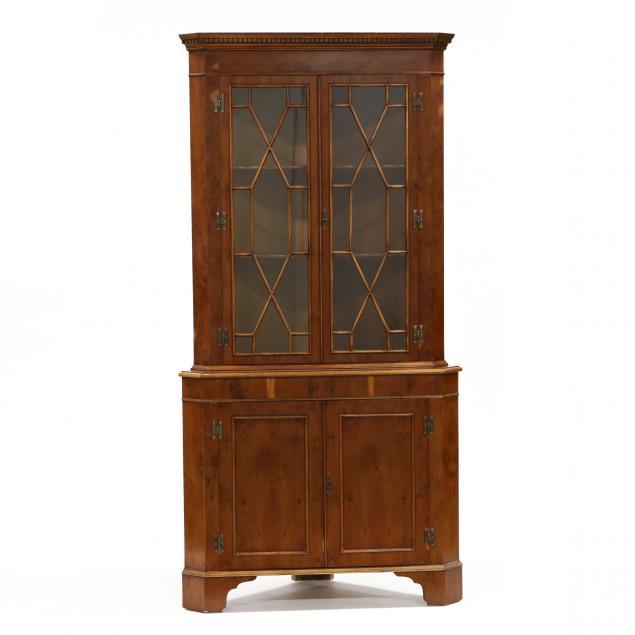 chippendale-style-diminutive-yew-wood-veneered-corner-cupboard