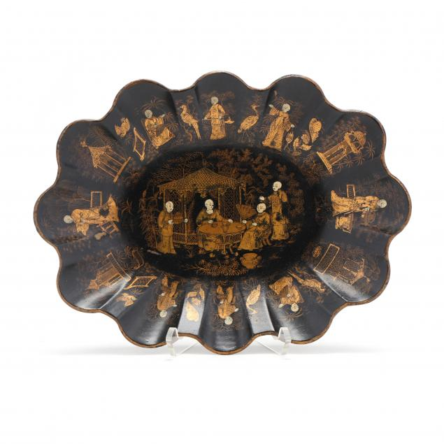 a-french-papier-mache-gilt-and-black-lacquered-scalloped-tray