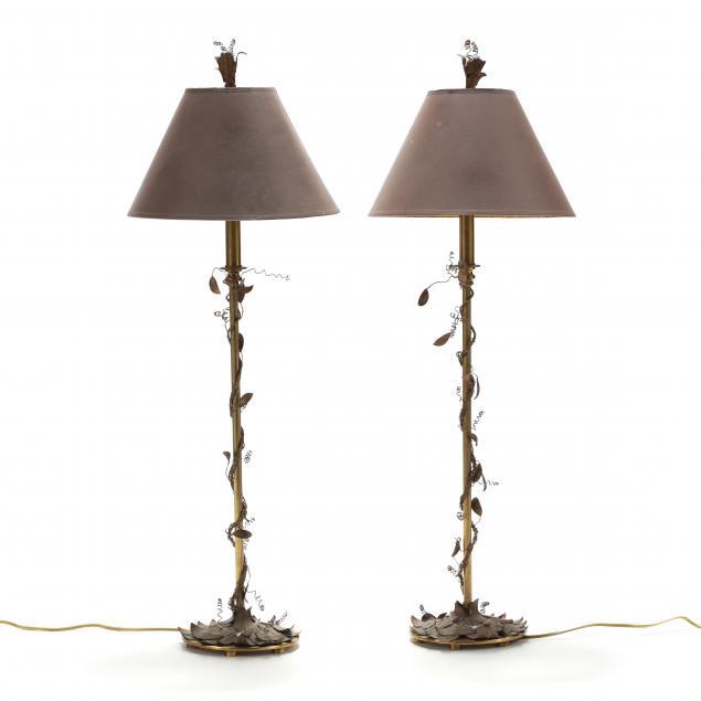 hart-associates-pair-of-brass-foliate-lamps