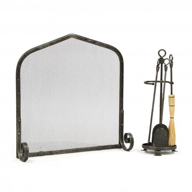 g-b-horr-arts-and-crafts-style-wrought-iron-fireplace-set