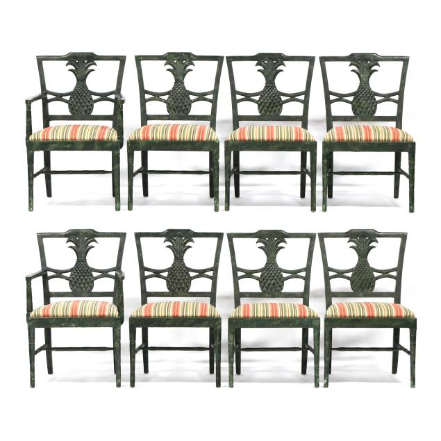 set-of-eight-carved-and-painted-pineapple-dining-chairs