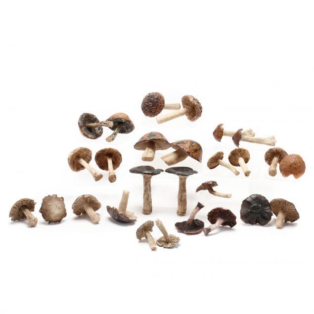 a-grouping-of-twenty-seven-decorative-mushroom-sculptures