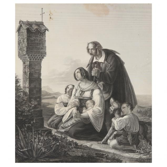 antique-copperplate-engraving-of-a-family-in-prayer