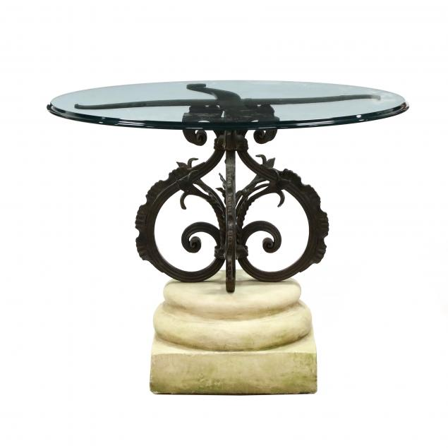 michael-taylor-continental-style-iron-and-stone-pedestal-table