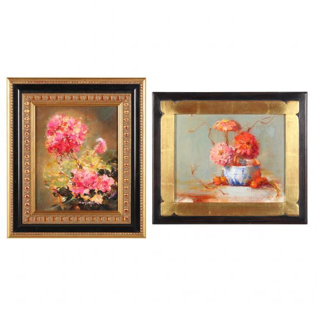mary-hardman-american-b-1941-two-floral-still-lifes