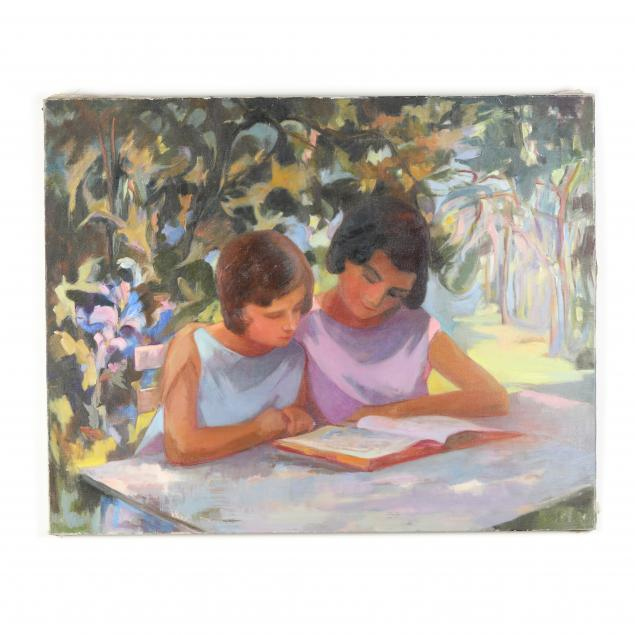 sylvia-gardette-french-20th-21st-century-mother-daughter-reading-in-the-park