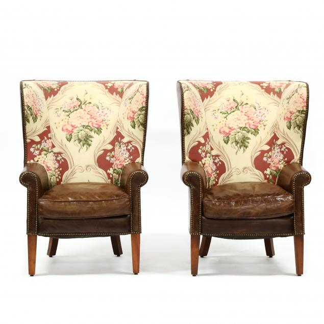 henredon-pair-of-leather-upholstered-barrel-back-easy-chairs