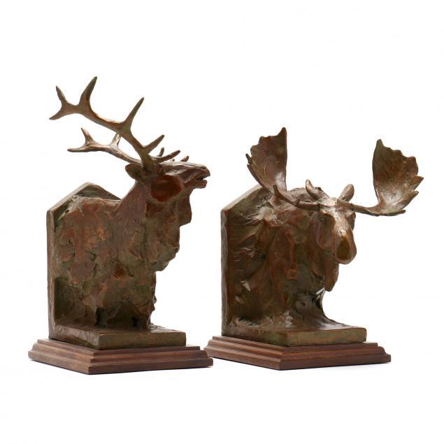 sandy-scott-american-b-1943-bronze-elk-and-moose-i-trophies-bookends-i