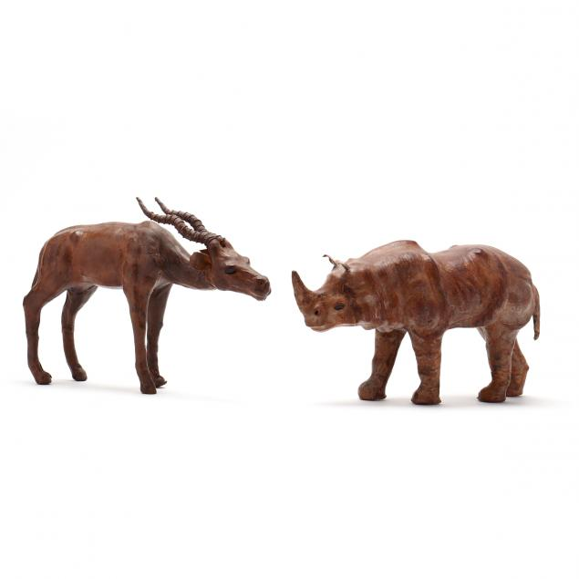 vintage-leather-rhinoceros-and-impala-table-sculptures