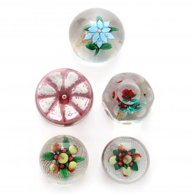 attributed-to-sandwich-five-glass-paperweights