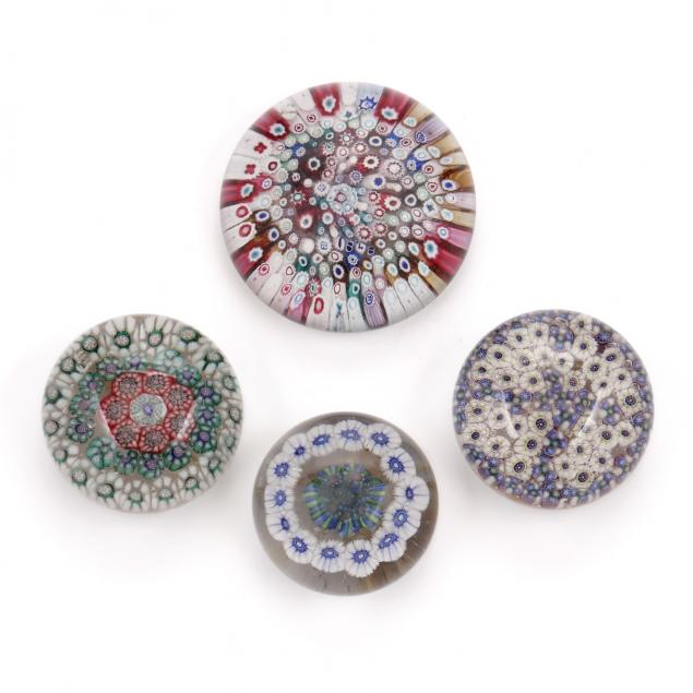 attributed-to-bristol-four-millefiori-paperweights