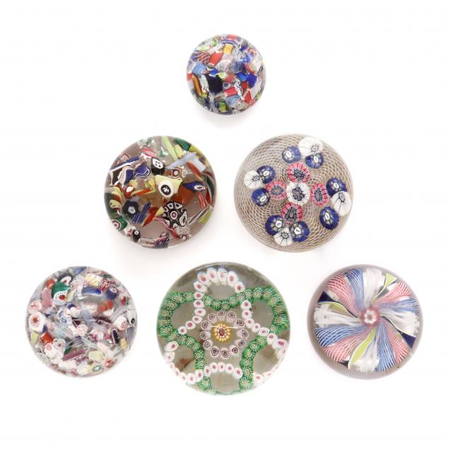 attributed-to-sandwich-six-glass-paperweights