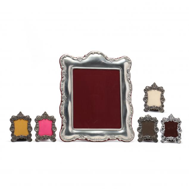 six-silver-and-pewter-picture-frames