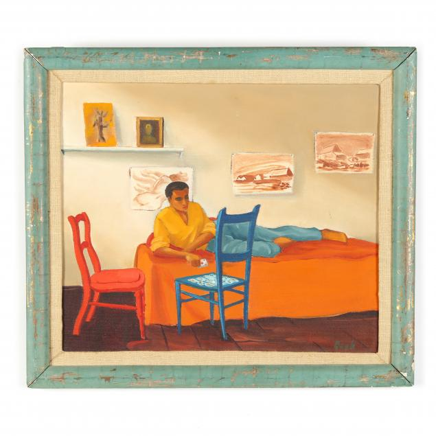 mid-century-painting-of-a-man-playing-solitaire