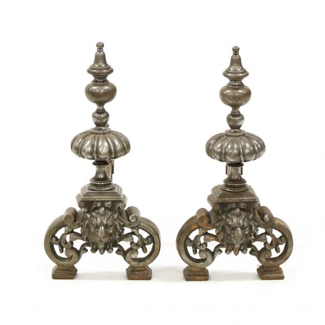 pair-of-antique-continental-steel-andirons