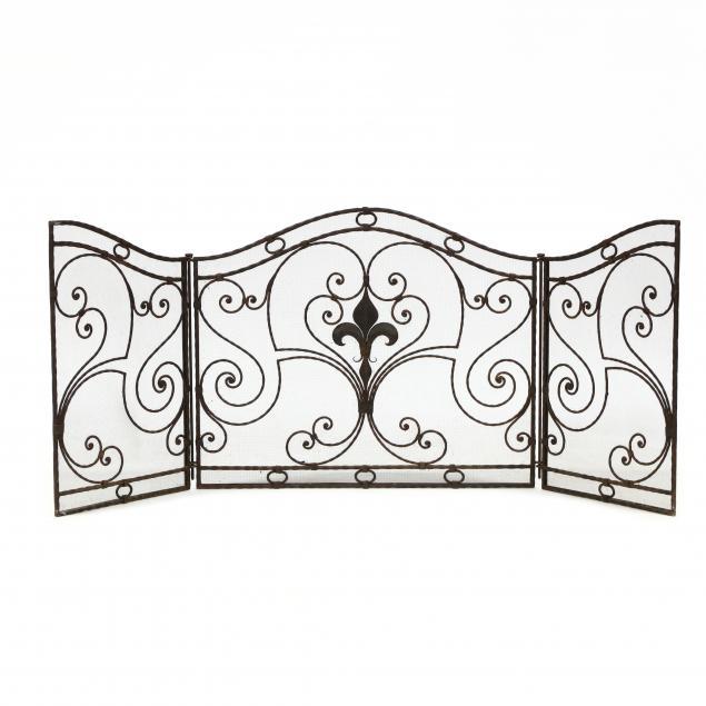 tri-panel-iron-fireplace-screen