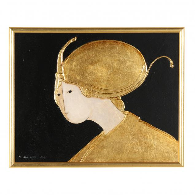 stephen-white-nc-portrait-of-a-woman-in-gold