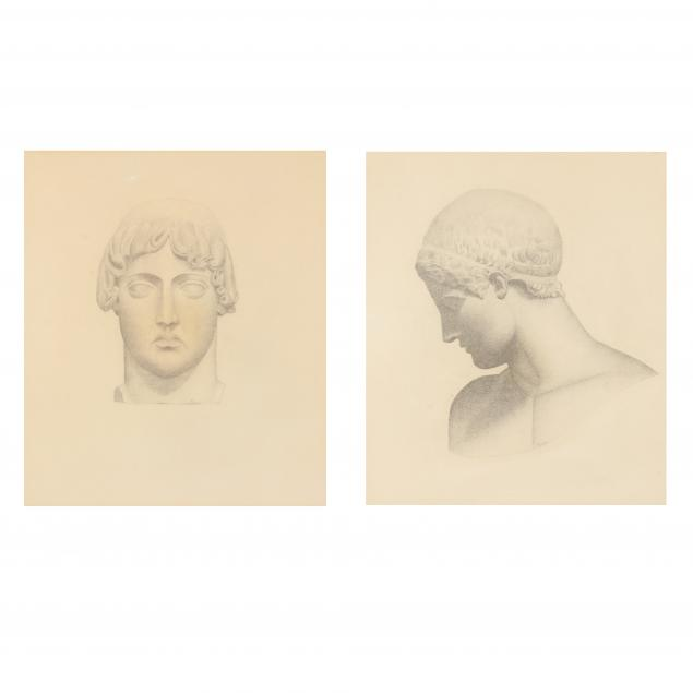 a-pair-of-graphite-sketches-of-greek-sculptures