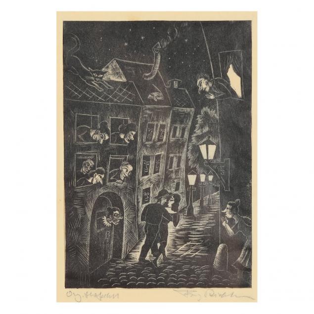 continental-school-vintage-street-scene-woodblock-print