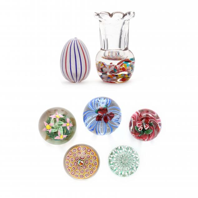 seven-antique-assorted-glass-paperweights
