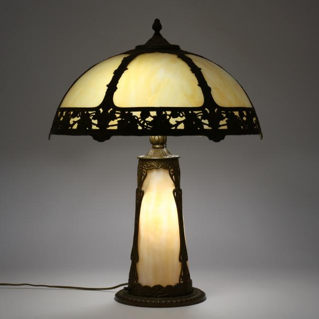 slag-glass-overlay-double-light-table-lamp