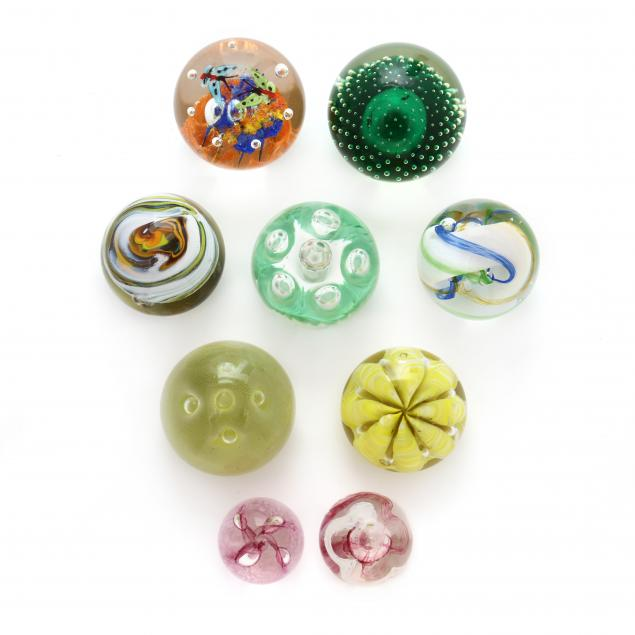 nine-art-glass-paperweights-including-caithness