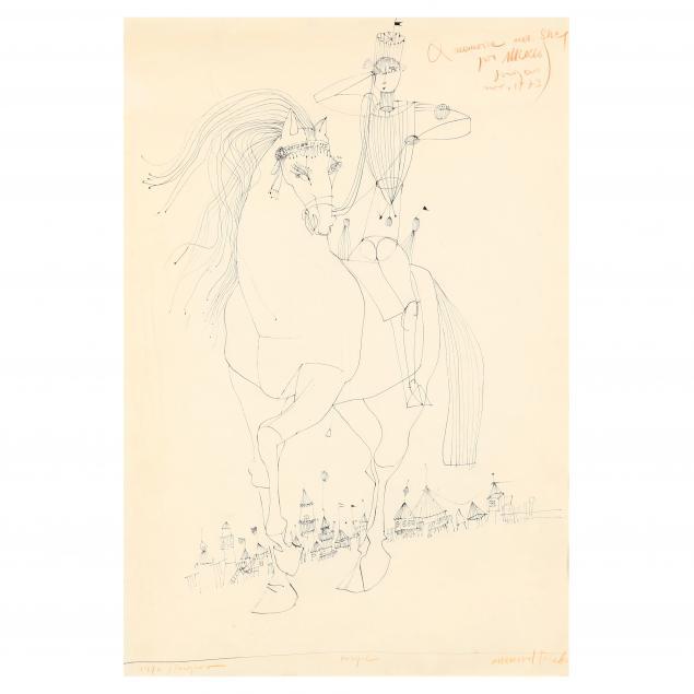 mersad-berber-bosnian-1940-2012-ink-drawing-of-a-man-on-horseback