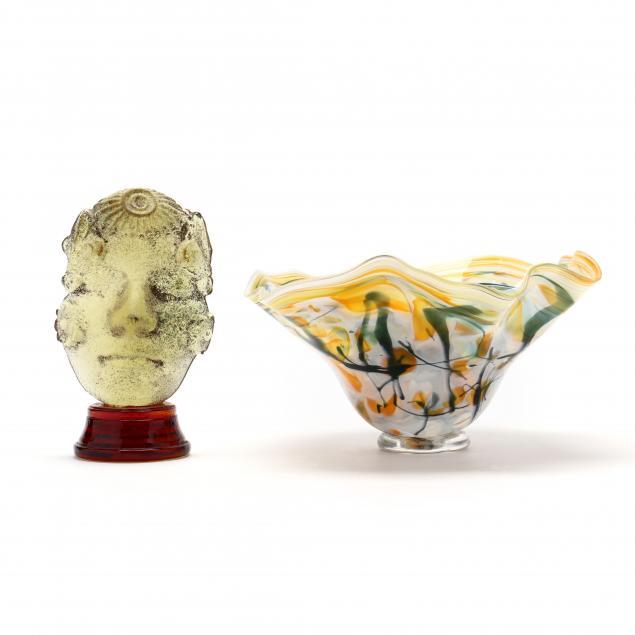 art-glass-bowl-and-sand-cast-glass-sculpture