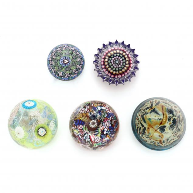 five-art-glass-and-millefiori-paperweights-three-signed