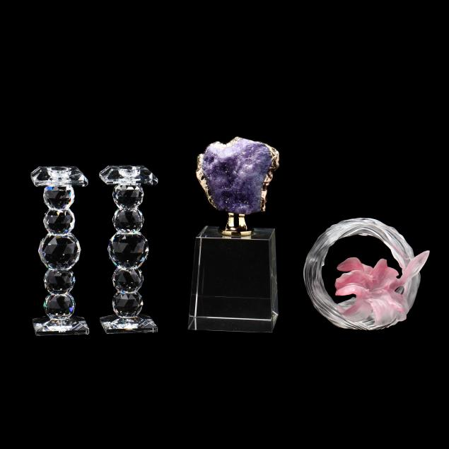 pair-of-swarovski-candlesticks-and-two-curio-sculptures