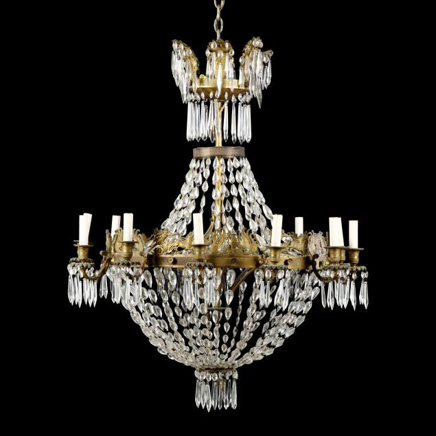 large-twelve-light-neoclassical-style-brass-and-drop-prism-chandelier